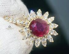 Natural Ruby Gold Pendant Diamond Necklace 14K GIA Certif 2.84CTW RETAIL $10400