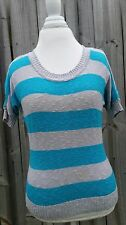 LEI BRAND l.e.i. blue striped sweater L over sized sweater white long sleeve A