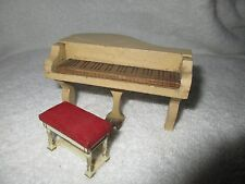 Vintage Wooden Dollhouse Grand Piano w/Bench Seat Pretend Play Toys