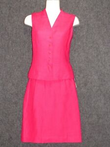 TALBOTS Pink 100% Linen Skirt Vest Suit SZ 4 NEW