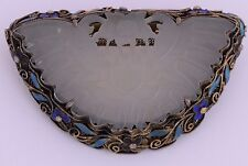 Antique sterling enamel silver carved White Jade large pin brooch Chinese export