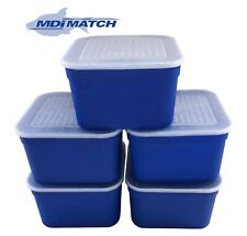 MDI Match 3.3 Pt Fishing Blue Maggot Bait Boxes + Lids Pack of 5
