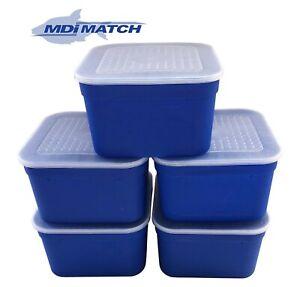 MDI Match 3.3 Pt Fishing Blue Maggot Bait Boxes + Lids Pack of 5