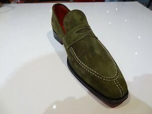 Emilio Franco Shoe Olive Green Suede Split Toe Loafer Slip on Matching Belt Also