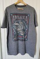 Spirit of America Size XL Gray T-Shirt Bald Eagle Patriotic USA Tee