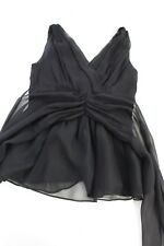 Miguelina Black Sheer Sheer Layered Tie back Peplum Strapless Top Sz XS
