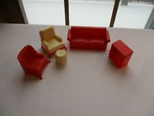 VINTAGE MAR PLASTIC DOLLHOUSE FURNITURE~5 PIECE LIVING ROOM SET~PRE-OWNED