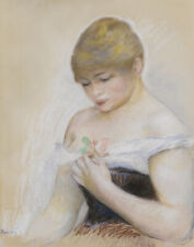 Pierre Auguste Renoir Young Woman Looking At A Rose Canvas Print 16 x 20  # 4169