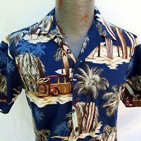 RJC Hawaiian Aloha Shirt Size Small Palm Trees Surf Board Made in the USA