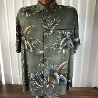 Croft & Barrow Mens Hawaiian Camp Shirt Green Gray Brown Palms Washable Rayon L