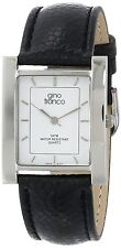 GINO FRANCO Men's Analog Square Stainless Steel Case Genuine Leather Strap Watch