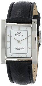 Men's Tank Shape Watch Steel Case Genuine Italian Black Leather Strap Watch