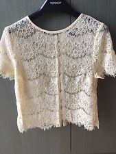 Brand New Topshop Lace Top in Cream Colour Slight Crop Size 8