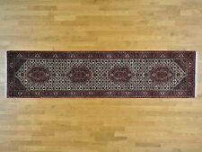 """2'9""""x11'4"""" Hand Knotted Wool and Silk Runner Fine Oriental Rug R26691"""