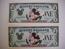 Disney Dollars 1987 Consecutive numbers 2 One Dollar Bills Mint