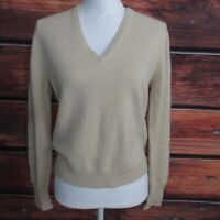 "Vintage BRAEMAR Scotland V-Neck Women's 100% CASHMERE Sweater Tan 38""xL21"" M"