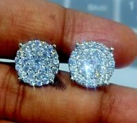 Delicated 1.50Ct Round Diamond Cluster Stud Earrings 10K White Gold finish
