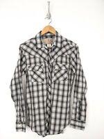 Wrangler Pearl Snap Shirt Men Small Black White Plaid Button Up Western Cowboy
