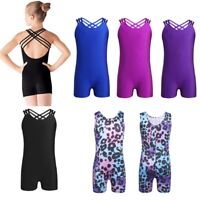 Girls Kids Gymnastics Leotard Sleeveless Dancewear Ballet Dance Dress One Piece