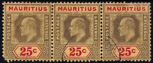 /MAURITIUS 1910 KE7 25c Sc#146 Strip3 USED - ALL with FAULTS @E2729