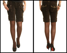 BNWT Zona Brera Brown Ladies Shorts Legging Velvet Stretch Fit Studs UK 10/12/14