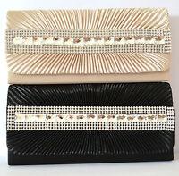 Pochette borsello donna cerimonia nera borsa clutch bag cristalli elegante B11