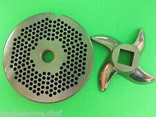"""#22 x 1/8"""" Meat Grinder Plate & KnifeStainless fits Hobart Tor-Rey Lem & More"""