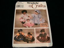 """Vintage Doll Clothes Pattern 10"""" 16"""" 21"""" Simplicity # 9473 Sewing HAT Skirt +  O"""