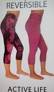 Active Life 127 Reversible Workout Yoga Capri Spandex Leggings Magenta MSRP $78