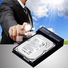 "External 2.5""/3.5"" SATA Hard Drive Enclosure SSD HDD Case USB3.0 Black Plug EU"