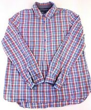 Tommy Hilfiger Popover Shirt Women's Size Large Blue Red White Plaid Button EUC
