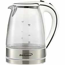 Glass Electric Cordless Kettle Coffee Tea Hot Water Boiler Warm Pot 1.7 L White