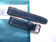 Strap 20mm Sand Blue Leather 20/18mm Pilot Mark Portofino Portuguese IWC Style