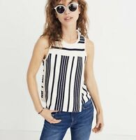 NEW Madewell Size XXS Stripe Play Sweater Tank Knit Top Blue Navy Cream White
