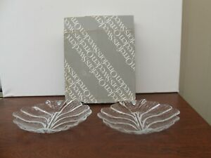 Orrefors Sweden - Pair of Eden Series Crystal Glass Plates - In Original Box