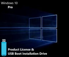 Microsoft Windows 10 Pro USB Boot Install Drive & Genuine Product License