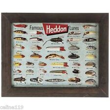 Fisherman Tin Sign Heddon Famous Fishing Lures Wall Hanging Nautical Decor NEW!