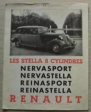 Renault les Stella voiture sales brochure 1934 texte français NERVASPORT Reinastella + +