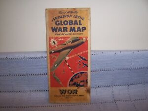 "WWII 1940s Rand McNally ""Invasion Issue Global War Map"", WOR New York Foldout"