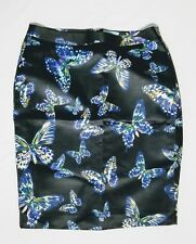 CeCe by Cynthia Steffe Sz 6 Black Butterfly Kiss Straight Pencil Lined Skirt