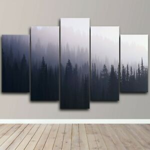Mist Forest Nature Calming 5 Piece Canvas Wall Art Abstract Print Home Decor