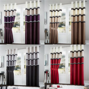 New Luxury Ready Made Panama Eyelet Top Fully Lined Curtains with Tie Backs