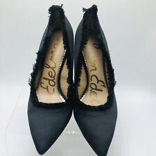 80c14c93e Sam Edelman Womens Heels Shoes Satin Halan Fringe Pointy Toe Size 8 Black  (P)