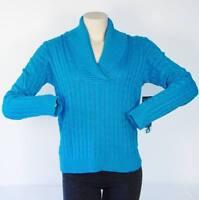 Lauren Ralph Lauren Blue Silk & Cashmere Cowl Neck Cable Knit Sweater Womens NWT