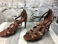 COLE HAAN Sz 9 Brown Leather Strappy Buckled Air Soles Heels Pumps Sandals-Spots