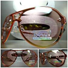 CLASSIC VINTAGE RETRO SHIELD Style SUN GLASSES Gold Frame Rare Pink Mirror Lens