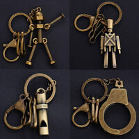 Cool Punk Leather Vintage Robot Keychain Key Ring Chain Key Fob Holder Well