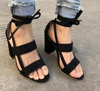 Chunky Women Ladies Suede High Heels Ankle Strap Sandals Shoes Plus Lace Up