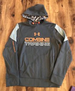 Under Armour Combine Training Mens Gray & Orange Hoodie Sweatshirt Sz S