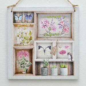 Wall hanging plaque/picture Botanical Herbarium Flowers Butterfly Gardening